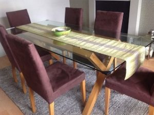 A Large Glass And Solid Oak Rectangular Dining Table Together With Six High Back Chairs Upholstered In Mauve Velour